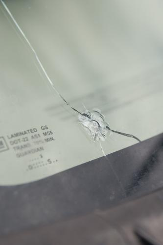 47 Windshield Rock Chip with 6 in Crack